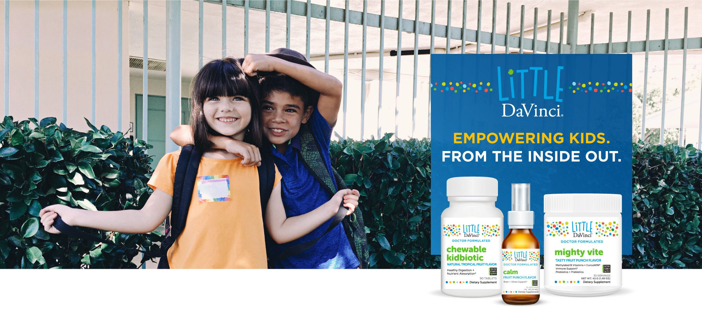 Children behind bottles of Little DaVinci supplements